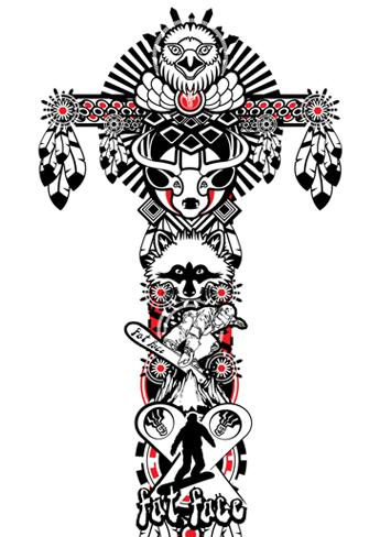 This is a design for Fat Face clothing. the brief required a totem pole